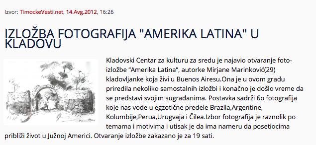 "Photo Exibition ""Amerika Latina"", Kladovo, Serbia, 2012"